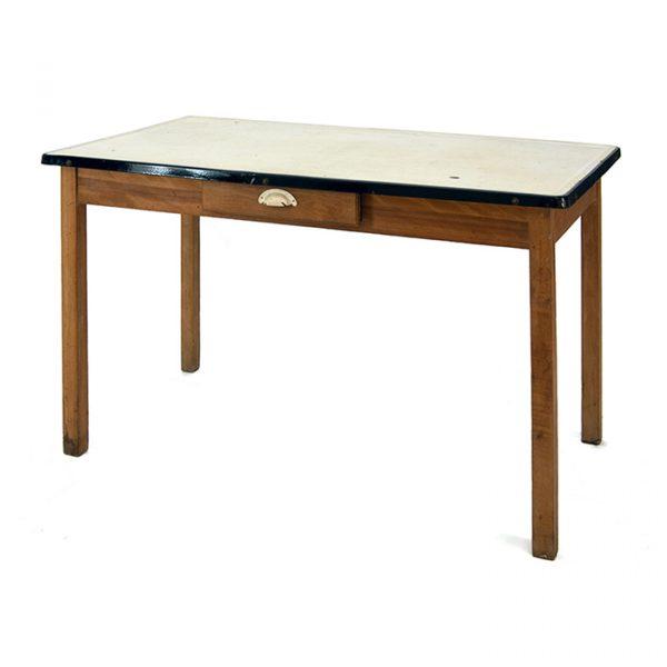 Table bois dessus émail