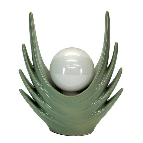 3221 Lampe verte vintage, globe sphérique