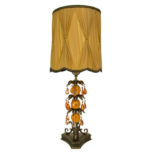 3226 Lampe de table vintage ochre avec cristaux