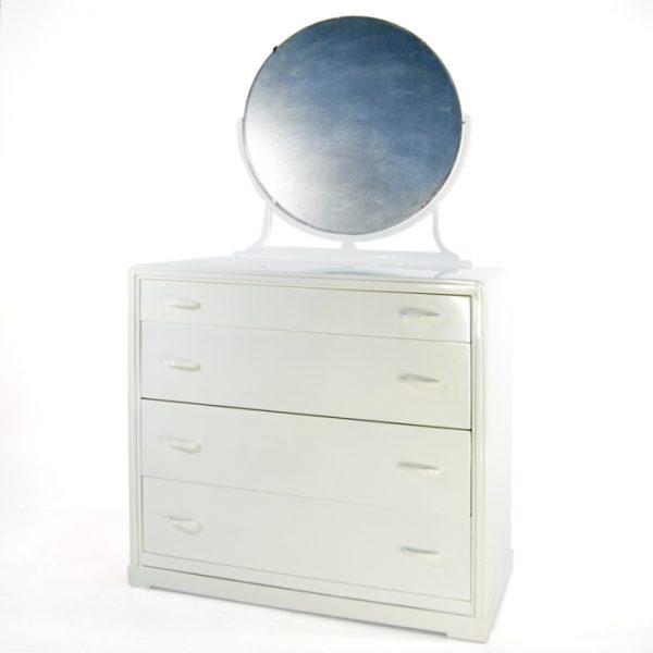 Commode blanche/miroir #1159A   L38 x P19 x H36 po   qté 1