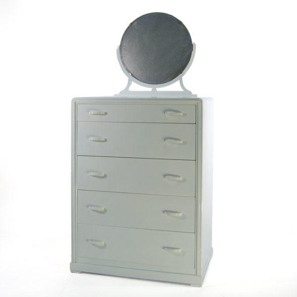 Commode métal blanche et miroir #1162A   L32 x P20 x H43 po   qté 1