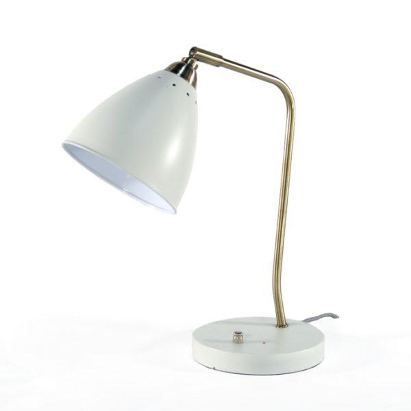 Lampe blanche métal #1691A   L12 x P6 x H15 po   qté 1